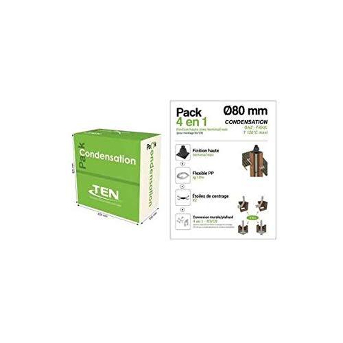Pack de condensación 4 en 1 B3/C9 TEN – Diámetro 80 mm – Terminal negro – Longitud flexible 10 m – Tolería esmaltada