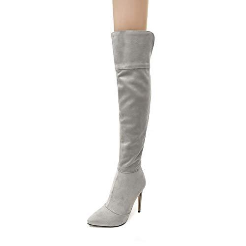 LHZHH Zapatos para Mujer, Botas Elásticas De Tacón De Aguja, Botas por Encima De La Rodilla con Cremallera Trasera Y Tacón Alto En Punta, Botas Altas De Gamuza Esmerilada (Color : Gray, Size : 45 EU)
