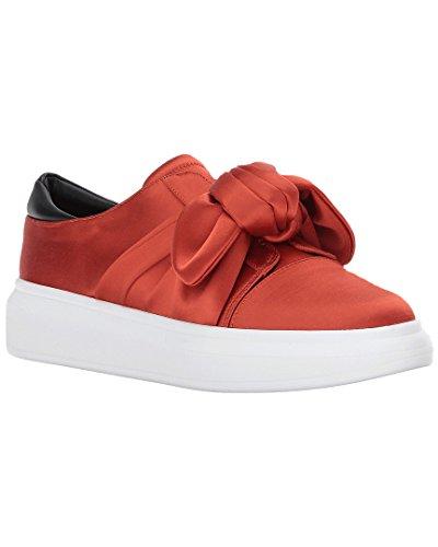 Shellys London Edgar Satin Platform Slip-On Platform Sneaker Oversized Bow (Red, Numeric_8)