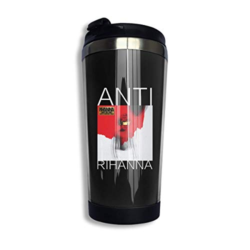 Trushop Taza de café Rihanna-Anti Coffee Cups Stainless Steel Water Bottle Cup Travel Mug Coffee Tumbler with Spill Proof Lid Graphic Travel Mug 400ml/14 oz