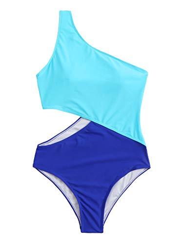 Maiô monoquíni feminino SweatyRocks com recorte de um ombro, Blue-navy, Medium