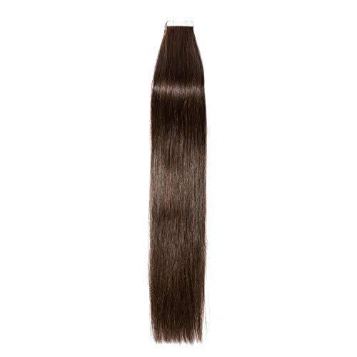 Extension Adhesive Cheveux Naturel 20 Pcs 40g - Rajout 100% Vrai Cheveux Humain Lisse à Bande Adhesive (#02 Brun, 35 cm)