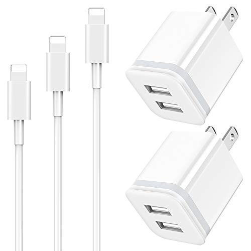 LUOATIP Cargador Phone, 5-Pack 1M + 2M + 3M Charger Cable y Dos Enchufe USB 2.1A 5V Movil Pared Adaptador Replacement for iPhone 11 Pro...