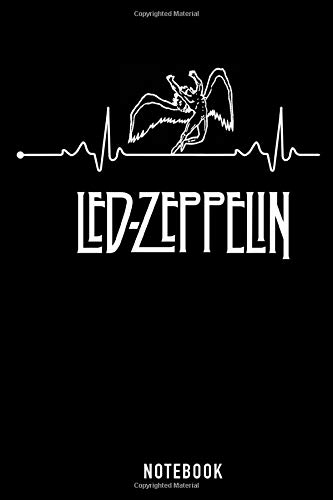 Led Zeppelin Notebook: Heartbeat Led Zeppelin  6''x9 '' Lined Pages Notebook White Paper with Black Cover 110 Pages Love Gift for Kids or Him Her Singer Notebook