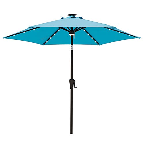 C-Hopetree 2.3m Garden Parasol for Outdoor Patio with Solar LED Lights and Tilt - Aqua Blue