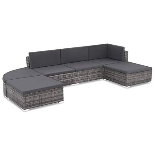 Festnight Gartensofa-Set 16-TLG. | Poly Rattan Lounge Set Lounge Möbel | Lounge Sofa Garnitur | Rattan Gartenmöbel Gartenset | Garten Sitzgruppe | Gartengarnitur | Grau