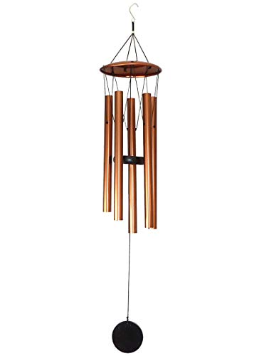 MB HANA Wind Chime (Medium, Antique Copper) – Unique Outdoor or Indoor Metal Windchime - Soothing Sounds for Your Garden or a Thoughtful Memorial
