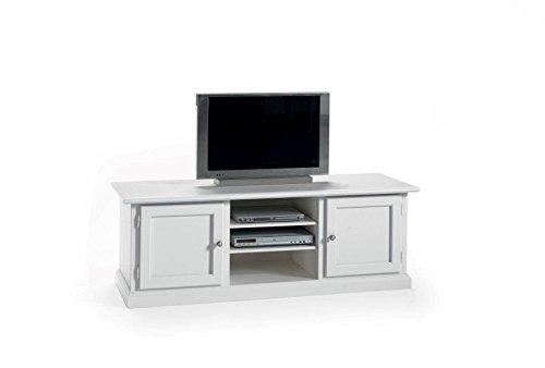 Meuble TV en bois Art pauvre laqué blanc 2 portes