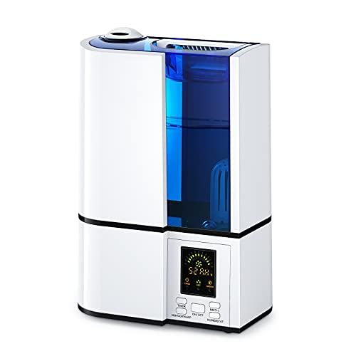 Umidificatore Ambiente Ultrasuoni,Humidifier HERILIOS Purificatore d'Aria, Grande Capacità 4L, Display LED, 14 Ore di Durata per Termosifoni, Modalità di Um