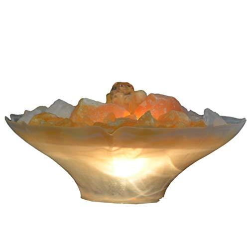 Home Trends and More Edelstein, Zimmerbrunnen Orangencalcit Brocken beleuchtet, Brockenbrunnen, Dokosteine Bergkristall, Calcit, Wasserspiel Feng Shui
