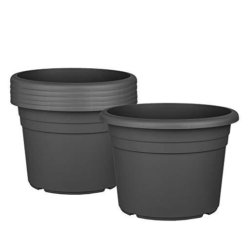 6X Blumentopf Ø 30 cm Farbe Anthrazit Kunststoff Pflanztopf Containertopf Übertopf Pflanzkübel rund 30 x 21 cm