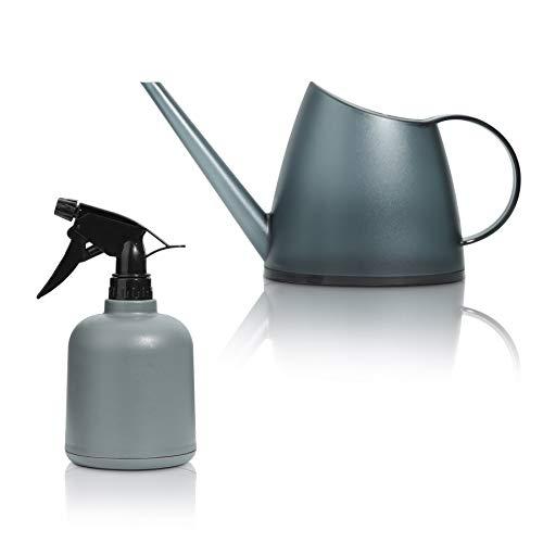 T4U Spray Botella Plantas Juego de 2 1400ml / 600ml, atomizador Ajustable rociador de Flores, regadera de Niebla Fina de plástico pequeña (Gris)