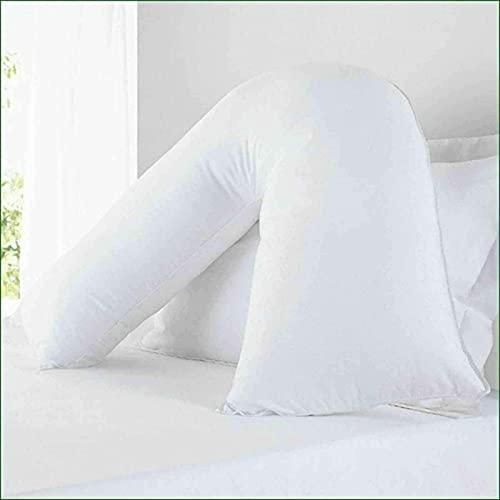 Almohada en forma de V, cuello, piernas, hombros, soporte de lactancia para almohadas ortopédicas, embarazadas y maternidad, con fibra hueca extra llenada, color blanco