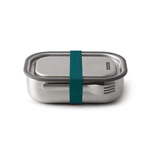 black+blum BAM-SS-L005 Ozean 3-in-1 Lunchbox aus Edelstahl mit Vakuumverschluss-absolut auslaufsicher, inklusive Göffel, Silikon, 1000 milliliters