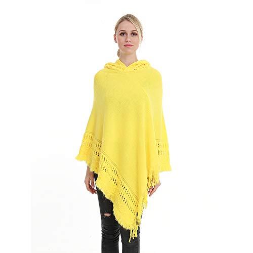 Qiminclo Damenschal Tücher und Wickel Damen Strick-Quasten Kapuzen-Schal Poncho Cape übergroßen Schal Schal Wrap Cloak (Farbe : Gelb)