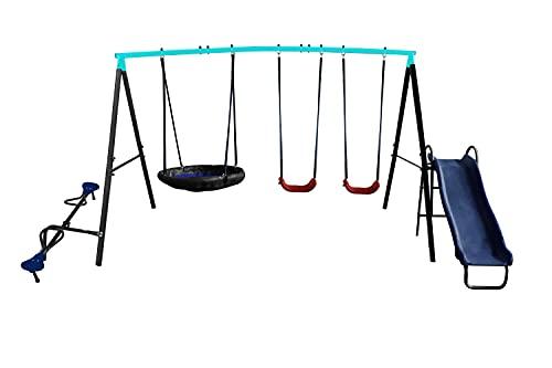 Avenlur Play Outdoor Backyard Playset - Kids Swing Set w/ Slide, Saucer Swing and Fun-Glider (KL701)