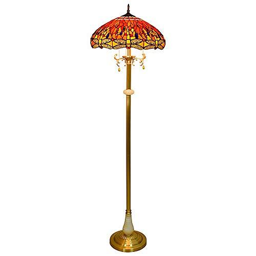 JMFHCD Tiffany Lámpara de Pie Lectura Salon Dormitorio Vintage Lampara de Pie 18 Pulgadas Vitral Libélula Roja Pantalla de Lámpara Decoración de la Sala de Bodas Lámpara Vertical con Base de Cobre