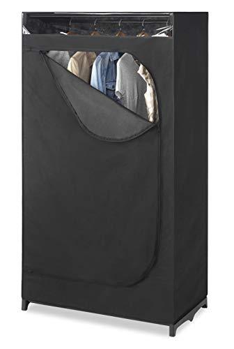 Whitmor Portable Wardrobe Clothes Closet Storage Organizer with Hanging Rack - Black Color - No-tool...