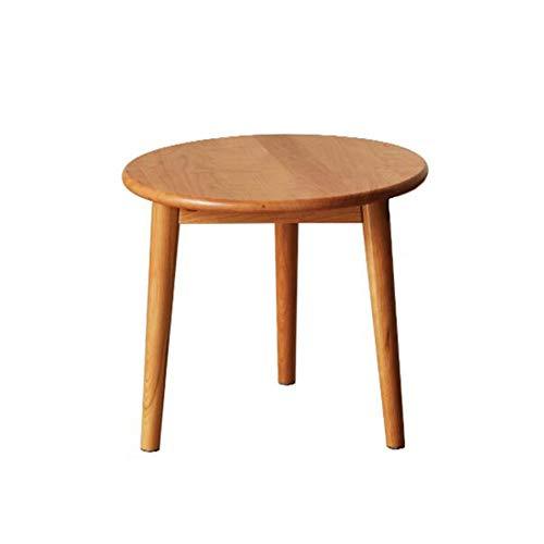 Jcnfa-Tische Beistelltisch, Telefonbeleuchtung Beistelltisch, Runder Esstisch Aus Massivholz, Wohnzimmer Sofa Beistelltisch, Runder Tisch Aus Kirschholz (Color : Wood, Size : 19.68 * 19.68 * 18.11in)