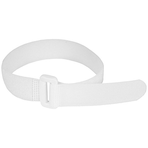Reusable Cinch Straps 1' x 20' - 12 Pack, Multipurpose Quality Hook and Loop Securing Straps (White) - Plus 2 Free Bonus Reusable Cable Ties