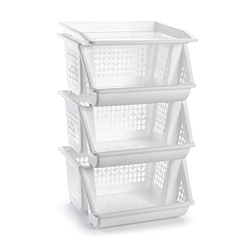 Plástic forte: Pack 3 cestas apilables