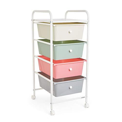 VonHaus 4-Drawer Storage Trolley - Pastel Colour Plastic Storage Unit For Offices, Make-up & Bathrooms with Castor Wheels