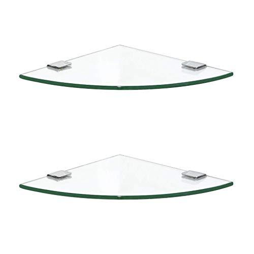 Hogreat Estantes de baño Lavabo de ba?o Estante de Esquina Soporte de Almacenamiento de Vidrio Soporte de Pared Triangular Cesta de Ducha Accesorios de Almacenamiento, 2 x Vidrio (Tama?o: 28 cm)