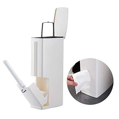 Baffect Toilettenbürste und Abfallbehälter Set, Bad Wc Halter Bürste mit Biegung Multifunktions 4 In 1 2L Mülleimer und Toilettenbürste und Halter Set Tissue Box für Badezimmer (Weiß)