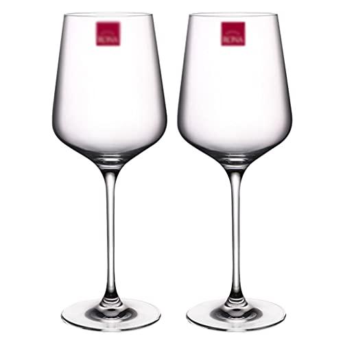 LICHUAN Juego de 2 copas de vino grandes sopladas a mano, copas de vino de tallo largo para cata de vino, boda, aniversario, copas de vino de Navidad (color 450 ml*2)