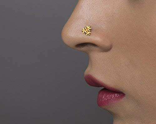 Amazon Com Unique Indian Nose Ring Stud Made Of 22k Yellow Gold