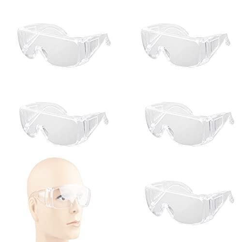 ZhengZ Occhiali di sicurezza,occhiali protettivi da lavoro,Occhiali protettivi e igienici di sicurezza ,Occhiali Protettivi Anti Appannamento,Trasparenti Per Uomo Donna Occhiali(5Pezzi)