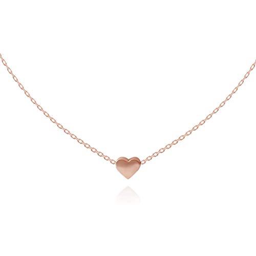 Herzkette Halskette Choker mit Herz Anhänger für Damen in 925 Sterling Silber mit 14K Rosegold vergoldet, Goldkette für Frauen Modell Heart, Kette klein, Kettchen 35+10cm