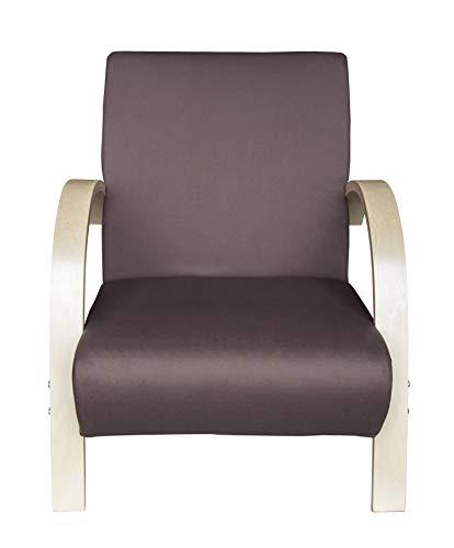 Moments of Glass Polstersessel Einzelsofa 1Sitzer Sofa Einsitzer Beistellsessel Stoffbezug mit hochwertige Polsterung (Grau mit Ahorn)