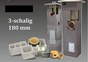 SUCCSALE-NICPONT Keramikschornstein Bausatz 3-Schalig Massiv DN180 7,33m