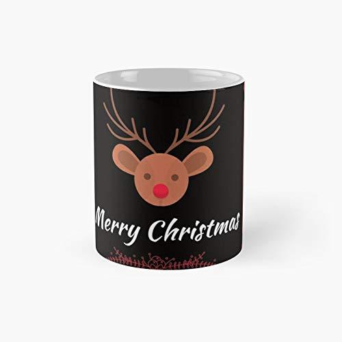 Taza clásica con diseño de camiseta de Navidad para mujer, diseño de reno, ideal como regalo