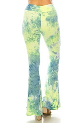 Leggings Depot PZA-S773-S Neon Fused Tie Dye Print Palazzo Pants, Small