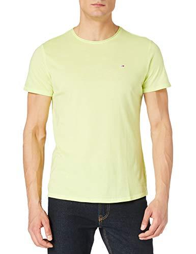 Tommy Jeans Tjm Slim Jaspe C Neck, Maglietta a Maniche Corte Uomo, Verde (Faded Lime), M
