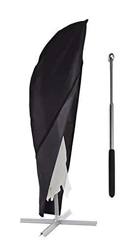 zizwe Sonnenschirm Schutzhülle mit Stab, Sonnenschirm Abdeckung, Wetterfeste, UV-Anti, Winddicht und Schneesicher, Outdoor für Ampelschirm schwarz (265 * 40/70/ 50 cm)