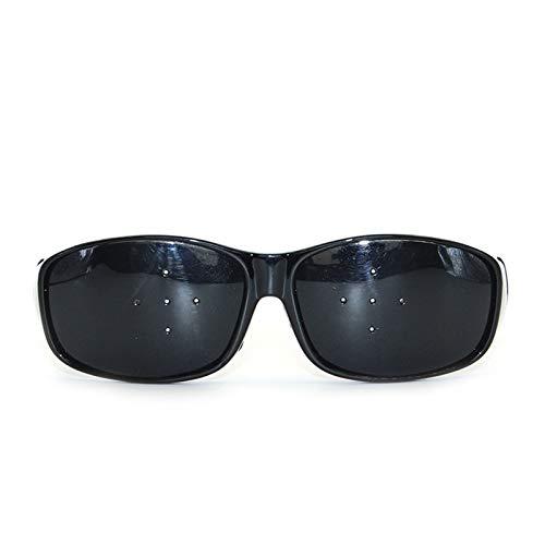 Gafas Estenopeicas Gafas para Ejercicio para Mejorar la Vista Gafas para Entrenamiento (Cinco Agujeros, Negro) 3 Piezas