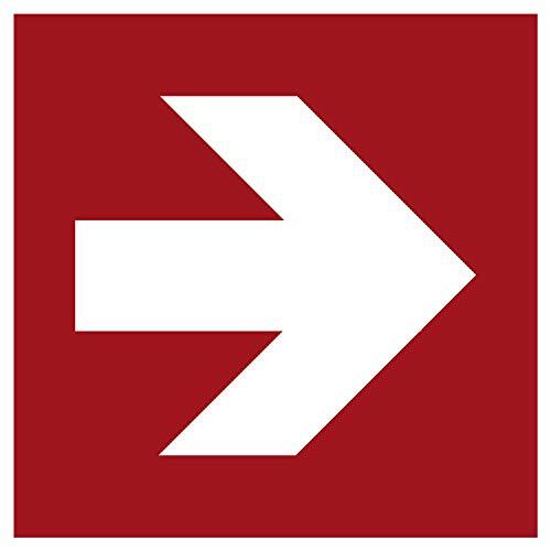 Brandschutzaufkleber Richtungsangabe Rechts | Nachleuchtend nach DIN 67510 in grün | Selbstklebend Folie für Betriebe, Produktion & Kliniken | 150 x 150 mm | PlottFactory