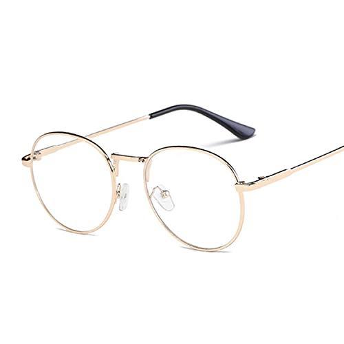 Sonnenbrille Mode Frauen Brillenrahmen Retro Runde Spektakel Transparente Sonnenbrillen Rahmen Weibliche Brillen-Gold