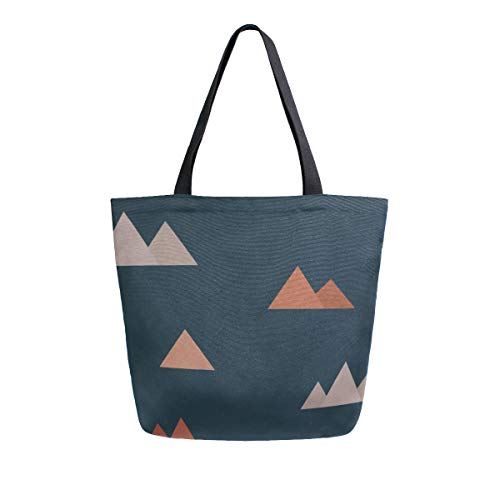 Shopping Cart Tote Bags Mountain Little Stone Double Sided Canvas Tote Bags Handbag Shoulder Reusable Shopping Bag For Women Travel Reusable Grocery Bags Men