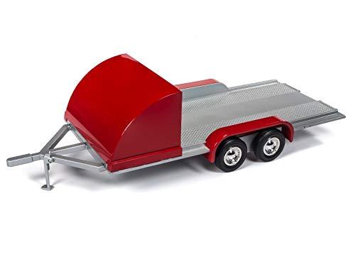 Remolque de 2 ejes, color plateado y rojo, modelo 1:18 Auto World