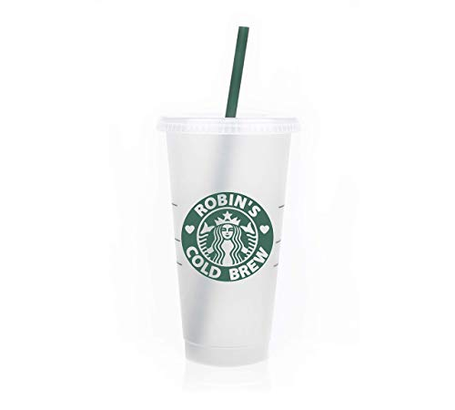Personalized Reusable 24oz Coffee Cup Frosted Venti To Go Cup Tumbler with your Name.