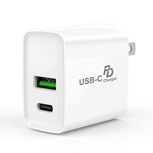 USB C Charger,PD + QC 3.0 USB Wall Charger Fast Adapter,Portable Dual Quick Charge 3.0 USB Fast Charging 18W Type C Power Delivery Block,Compatible with iPhone,Galaxy,Huawei,Pixel,iPad Pro More