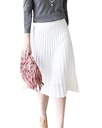 Rock Damen Plisseerock Leichte Sommer Röcke Elegant Hohe Taile Faltenrock Fiesta Kleidung Midirock Frauen Einfach Casual Lange Elastische Taille Petticoat (Color : Weiß, Size : 3XL)