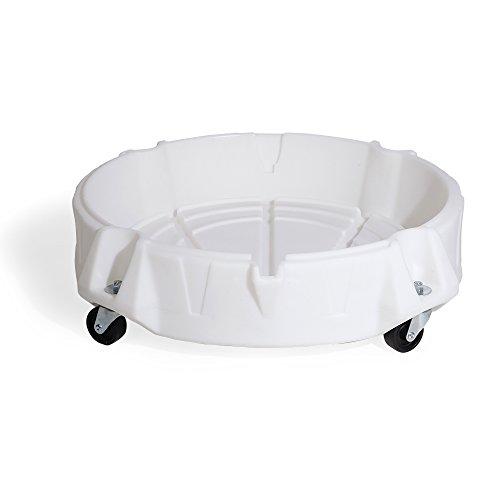 새로운 돼지 유출 드럼 돌리 5  55 GAL 드럼 500 LB로드 용량 11 GAL SUMP 용량 31 DIA X 8 H 3 바퀴 플라스틱 화이트 DRM786