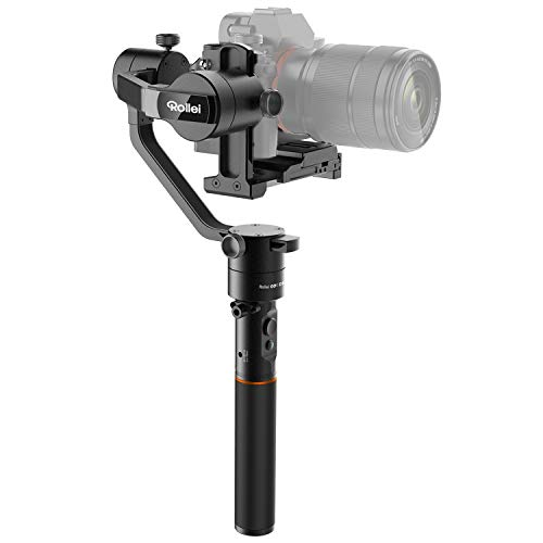 Rollei GO! DSLM-Gimbal I DSLR-Gimbal mit 1,8 KG Traglast I 3-Achsen Stabilisator für Kompakt und System-Kameras I Rollei-Gimbal mit 360° -Drehungen