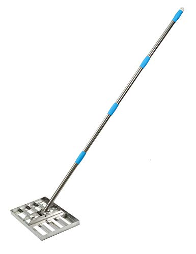 "HeroShow Lawn Leveling Rake- 6FT Stainless Steel Pole- Level Soil with 17"" x 10"" Heavy Duty Soil Lawn Leveler Tool for House Garden Yard Golf"
