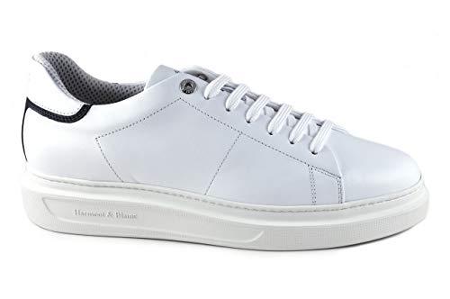 Sneackers Uomo Harmont&Blaine EFM211.030 Stringata Casual in Pelle Bianco Una Calzatura Comoda Adatta per Tutte Le Occasioni. Primavera Estate 2021. EU 43